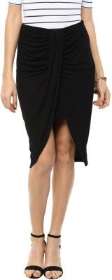 Femella Solid Women's Wrap Around Black Skirt