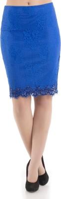 Kazo Solid Women's Regular Blue Skirt
