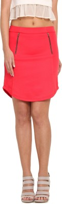 Leo Sansini Solid Women,s Regular Red Skirt