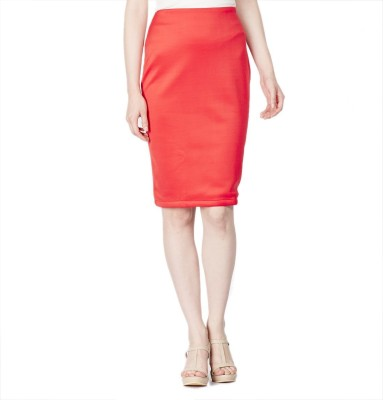 American Swan Solid Women's Pencil Red Skirt