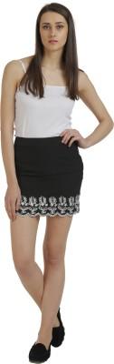 Holidae Solid Women's Regular Black, White Skirt