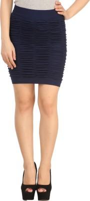 N-Gal Solid Women's Straight Dark Blue Skirt