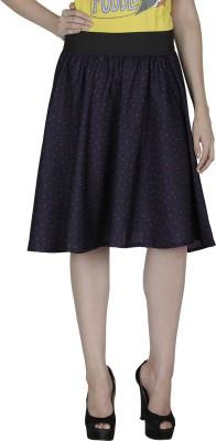 Shopping Villa Printed Women's A-line Dark Blue Skirt