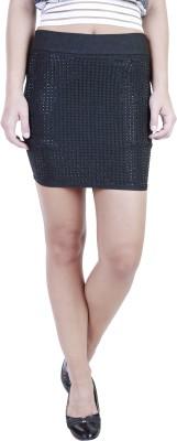 Showoff Embellished Women's Pencil Black Skirt