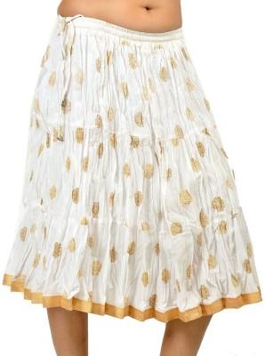 Jaipur Raga Printed Women,s Regular White Skirt