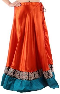 Vivancreation Embroidered Women's Regular Orange Skirt