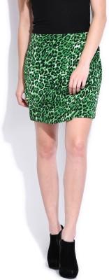 Noble Faith Animal Print Women's Tulip Green Skirt