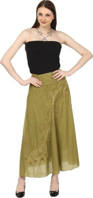 SATARO Self Design, Striped Women's Straight Green Skirt