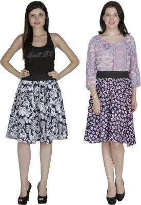 Shopingfever Printed Women's A-line White, Dark Blue Skirt