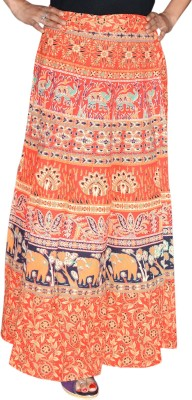 Marusthali Printed Women,s Wrap Around Orange Skirt