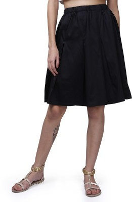 GarrB Solid Women's Pleated Black Skirt