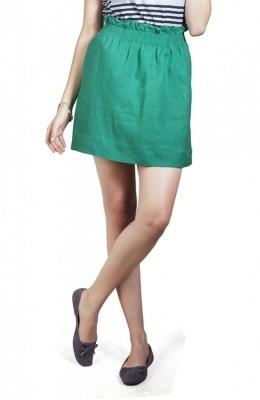 Cottonworld Solid Women's A-line Green Skirt