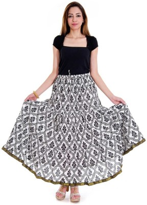 Halowishes Printed Women's Wrap Around White, Black Skirt