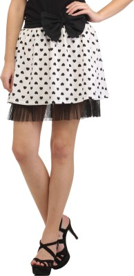 Cation Printed Women's A-line White Skirt