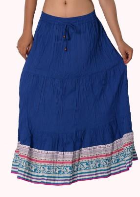SBS Solid Women's Tiered Blue Skirt
