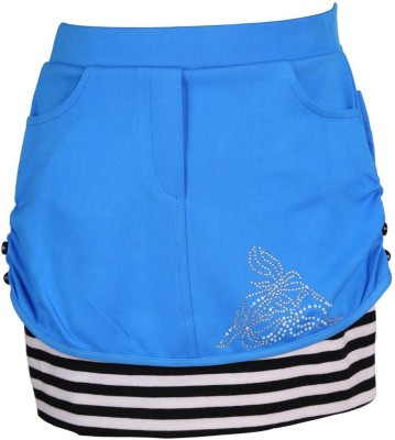 LEI CHIE Self Design Girl's A-line Blue Skirt
