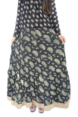 ShopMore Printed Women's Regular Black Skirt