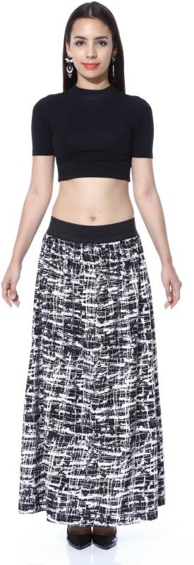 FabnFab Graphic Print Women's A-line Black, White Skirt