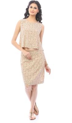 Pinwheel Floral Print Women's Pencil Beige, Pink Skirt