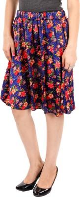 Gwyn Lingerie Floral Print Women's Gathered Blue Skirt
