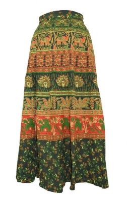 Marwari Fashion Printed Women's Wrap Around Green Skirt