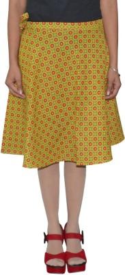 Shreeka Printed Women's Wrap Around Green, Red Skirt