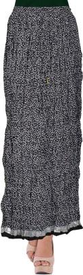 TheDarziClub Printed Women's Bubble Black Skirt