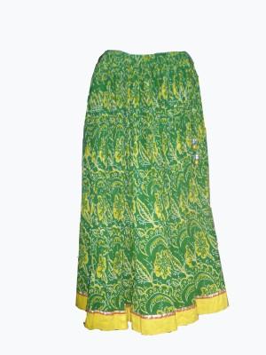 Vg store Printed Women's Regular Green Skirt