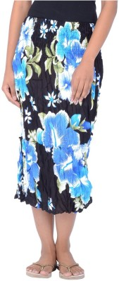 Legginstore Floral Print Women's Tiered Blue Skirt