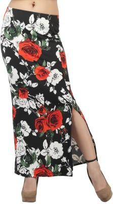 FamGlam Floral Print Women's Straight Black Skirt