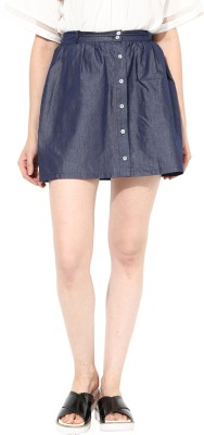 Miss Chase Solid Women's Straight Blue Skirt