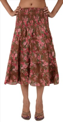 Skirts & Scarves Printed Women's Regular Brown Skirt