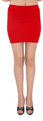 SHYIE Solid Women,s Pencil Red Skirt