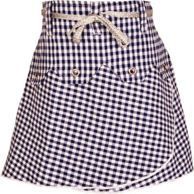 Gkidz Checkered Girl's A-line Blue Skirt