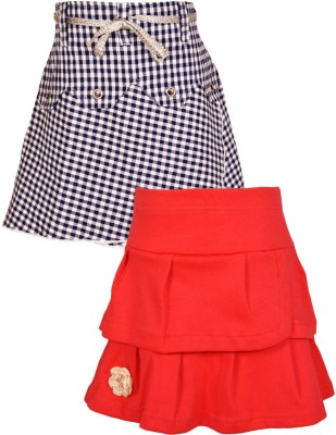 Gkidz Checkered Girl's A-line Blue, Light Blue Skirt