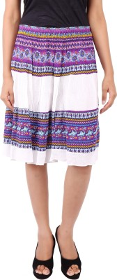Naitik Printed Women's A-line White Skirt