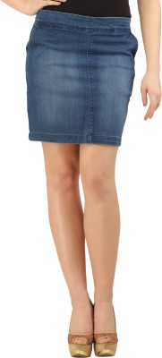 X'Pose Solid Women's Regular Blue Skirt at flipkart