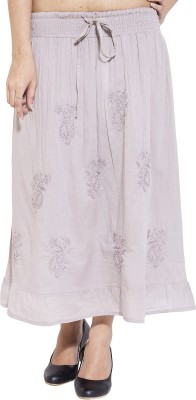 Simplona beau Embroidered Women's A-line Grey Skirt