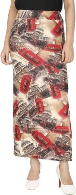 Franclo Geometric Print Women's Pencil Beige, Red Skirt