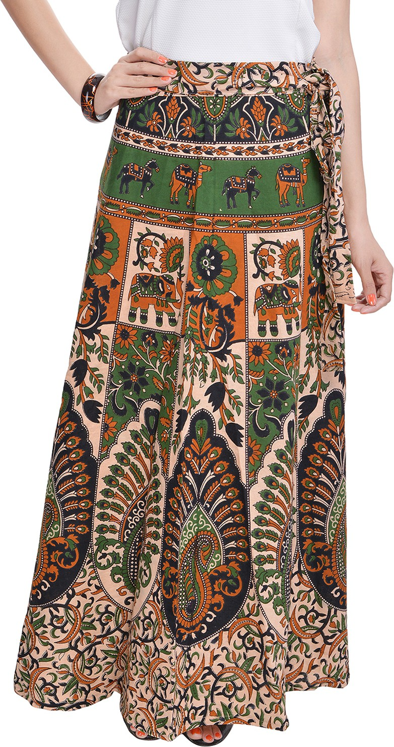 Soundarya Printed Women's Wrap Around Beige Skirt