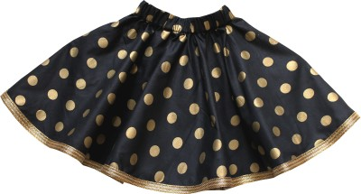 Little Leaf Polka Print Girl's Gathered Black Skirt