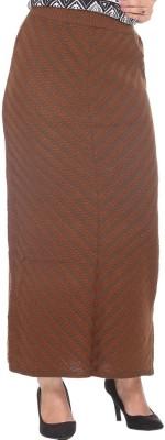Colors & Blends Striped, Self Design Women's Tube Brown Skirt