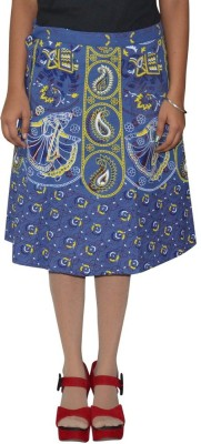 Shreeka Printed Women's Wrap Around Blue, White Skirt