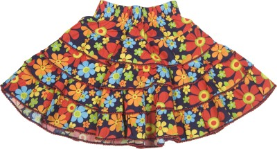 Retaaz Floral Print Girl's Tiered Multicolor Skirt