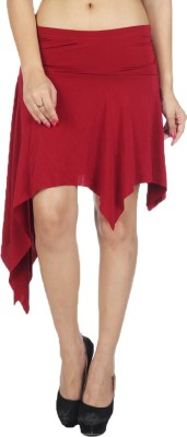 Augadh Solid Women's Straight Maroon Skirt