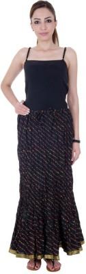 Ooltah Chashma Striped Women's Broomstick Black Skirt