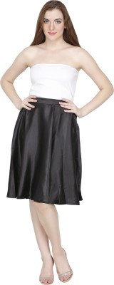 Famous by Payal Kapoor Solid Women's Pleated Black Skirt