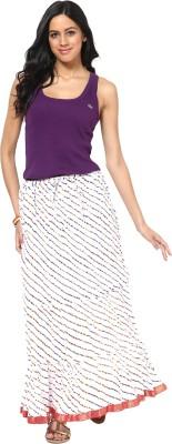 Factorywala Printed Women,s Wrap Around White Skirt