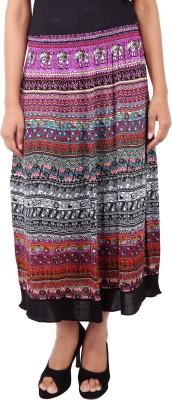 Naitik Printed Women's A-line Black Skirt