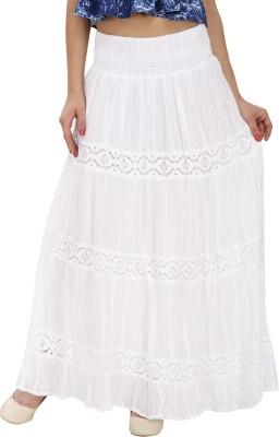 Svt Ada Collections Printed Women,s Regular White Skirt